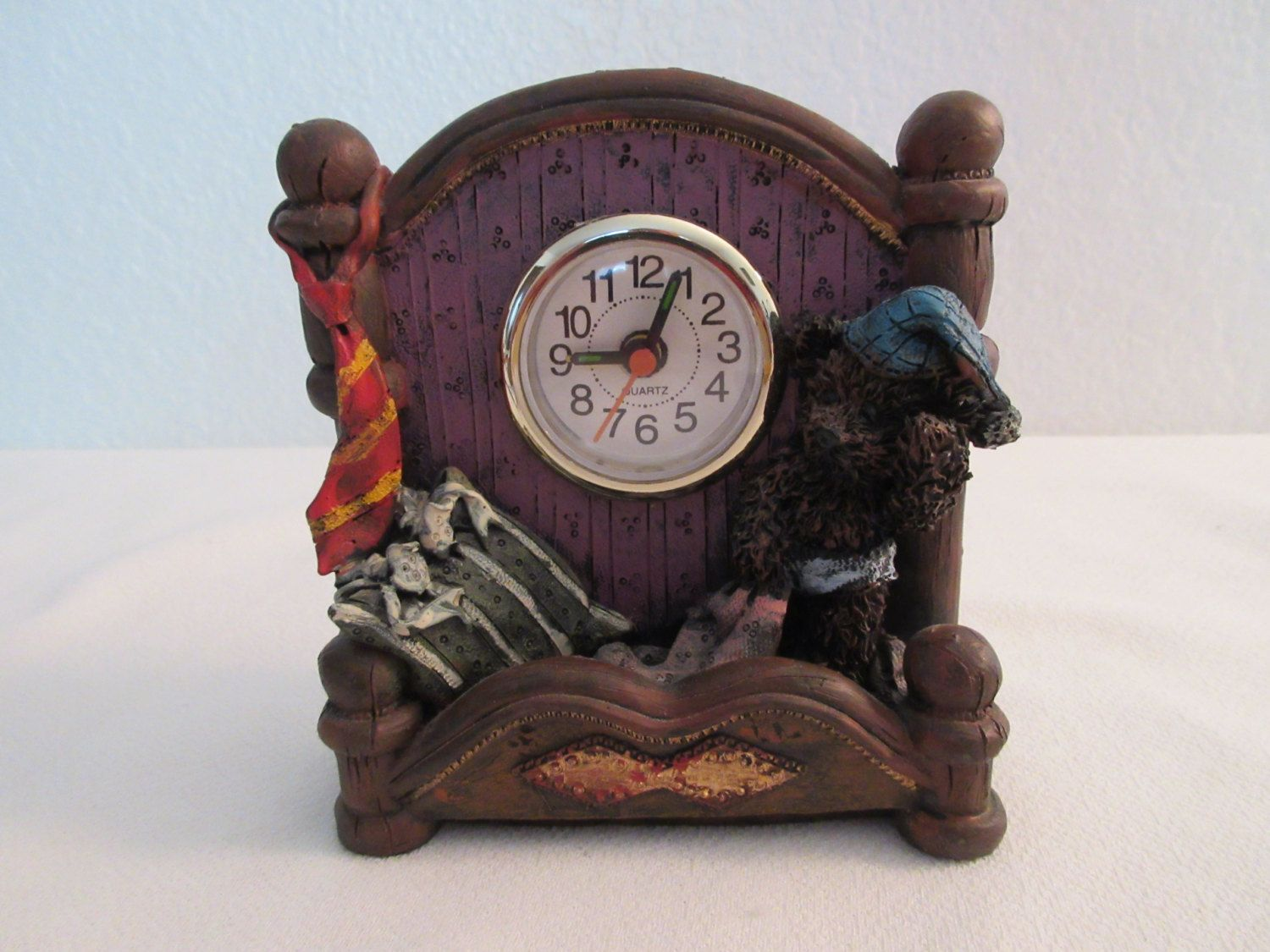 Vintage Resin Boyd's Bear Quartz Clock by thingsbybrinda on Etsy