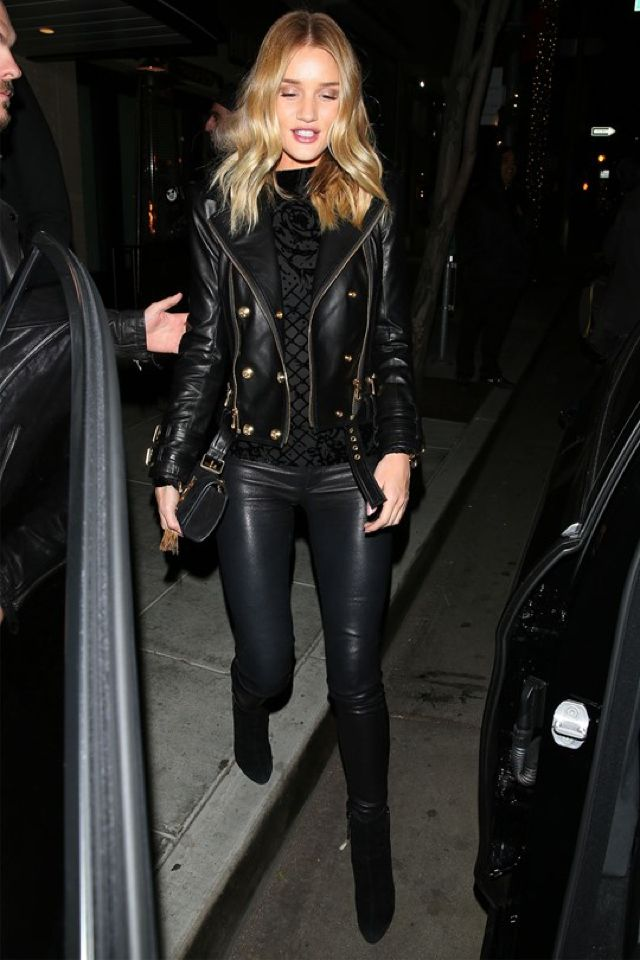 beb352e2356a rosie-huntington-whiteley Balmain for H&M leather jacket. cool How to wear  leather pants?