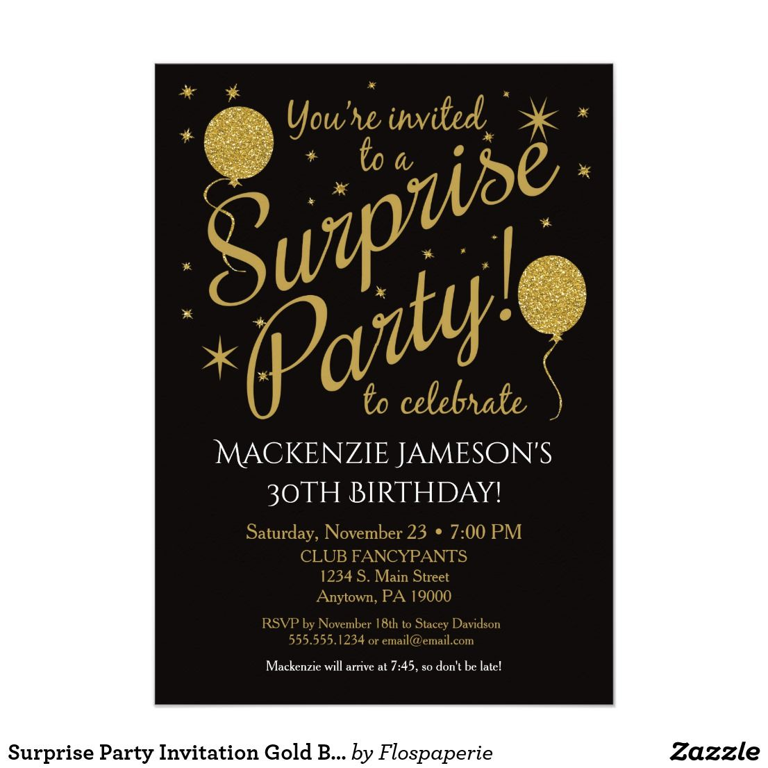 Surprise Party Invitation Gold Balloon Birthday Zazzle Com Surprise Party Invitations Surprise Birthday Invitations Surprise Birthday Party Invitations