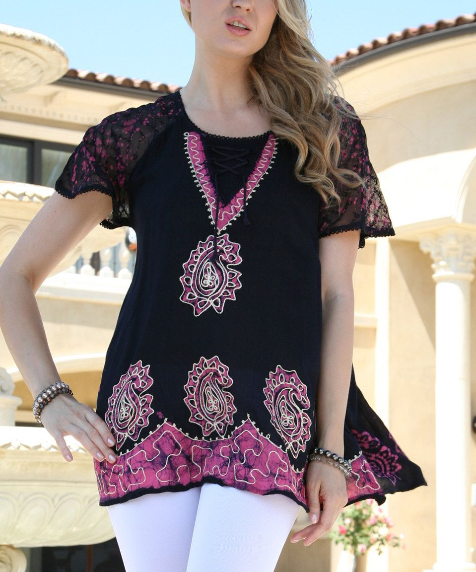 Another great find on #zulily! Ananda's Collection Pink Lace-Up Embroidered Tunic - Women by Ananda's Collection #zulilyfinds