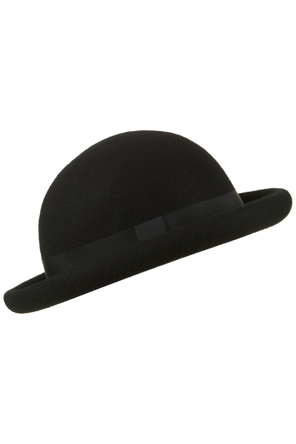 d5021aa6ca717 Black wool bowler hat with rolled brim