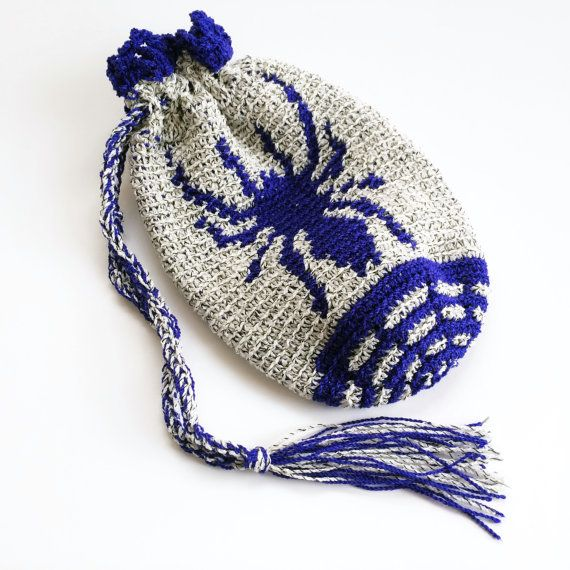 Small Crochet Pouch Wristlet Tarantula by SoftsideCrochet on Etsy