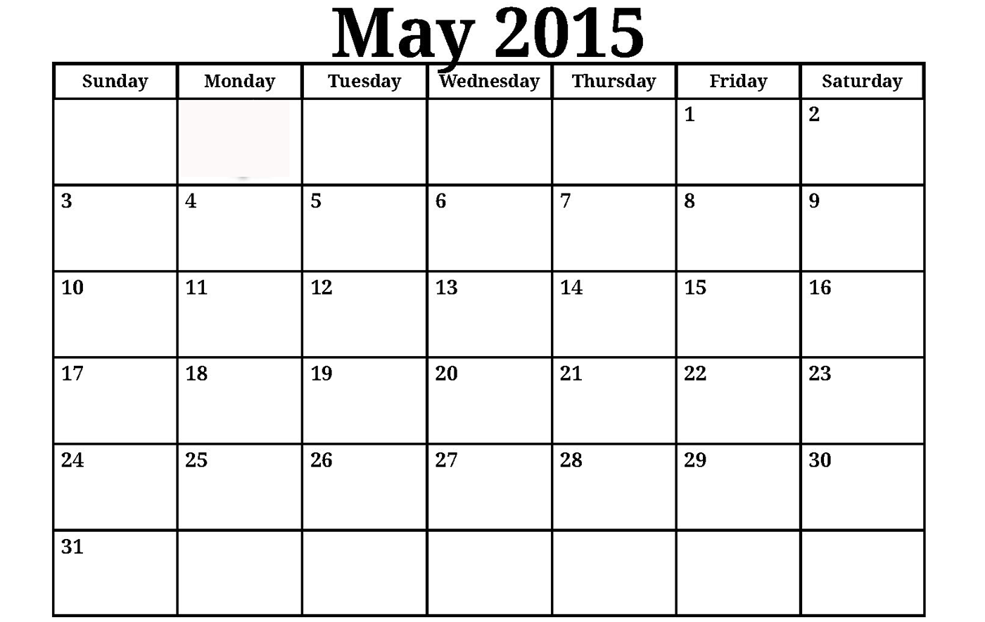 2015 may calendar template 3