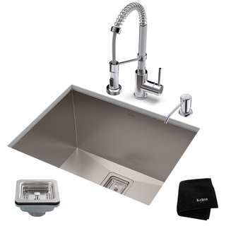 Kraus 24 Inch Stainless Steel Kitchen Sink Faucet Soap Dispenser