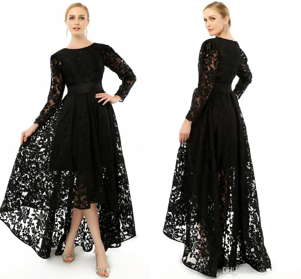 2015 elegant black long sleeve plus size special occasion dresses formal lace hi lo party. Black Bedroom Furniture Sets. Home Design Ideas