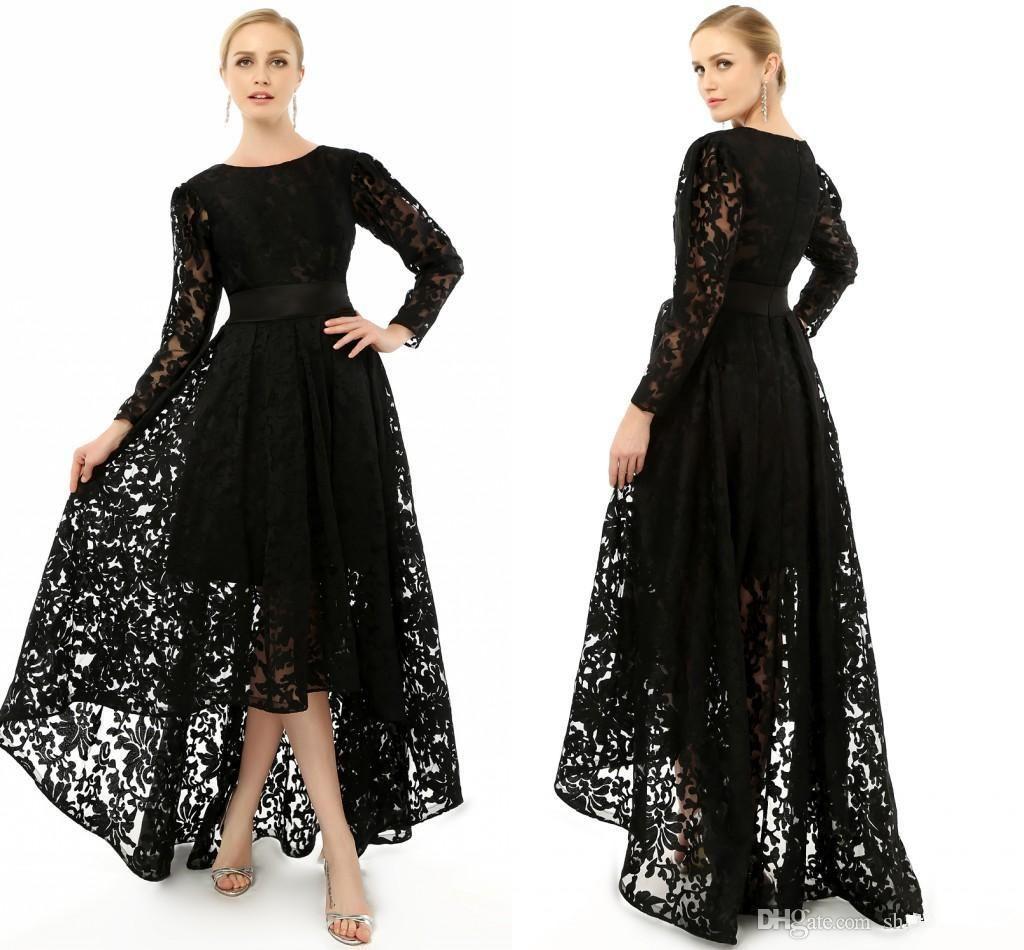 2015 elegant black long sleeve plus size special occasion dresses formal lace hi lo party. Black Bedroom Furniture Sets. Home Design Ideas