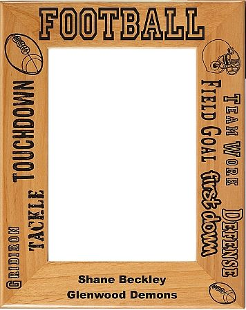 Laser Engraved Vertical Football Picture Frame - Personalized ...