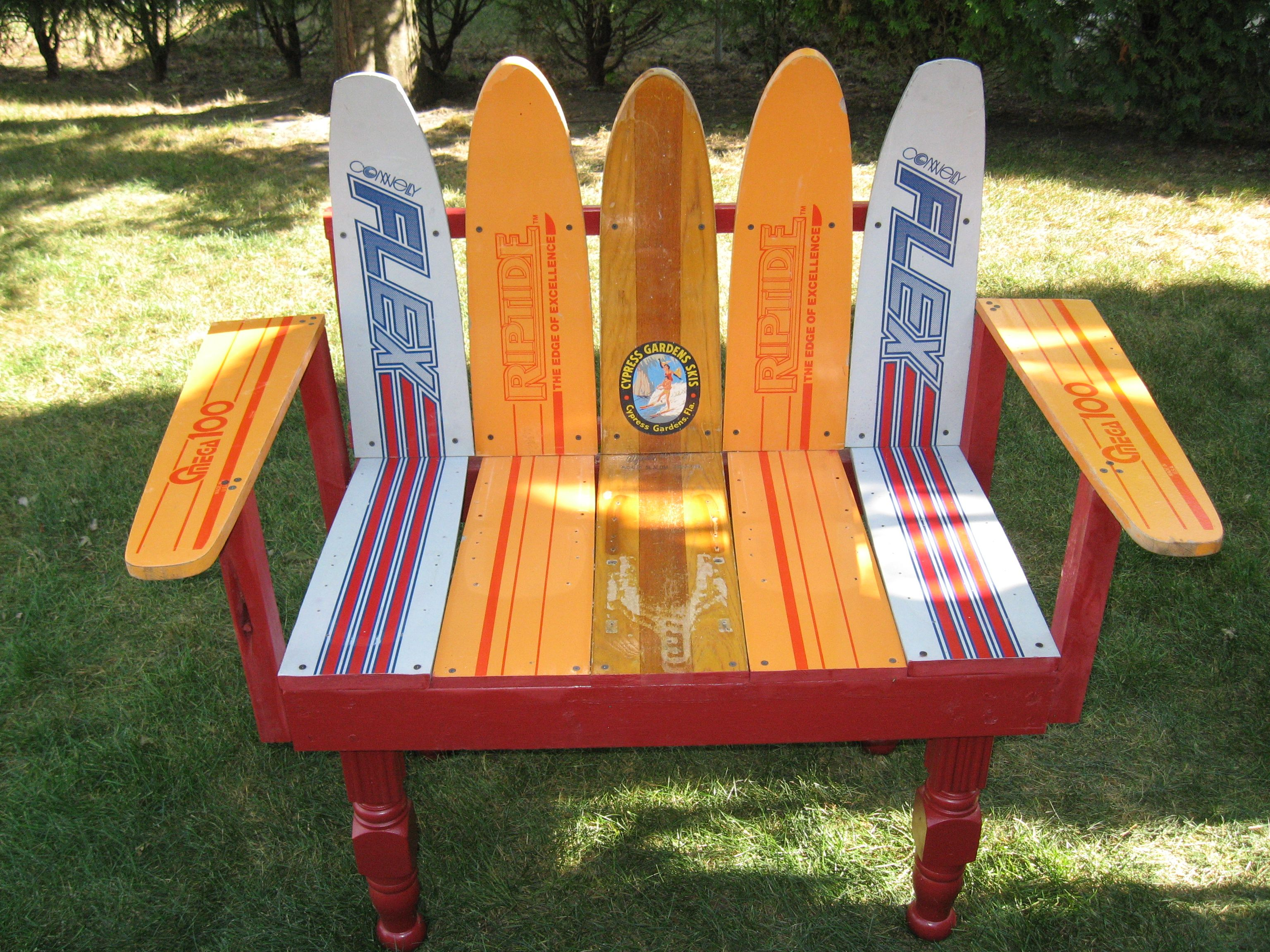 what are pool chairs made out of butterfly chair covers ikea fun bench we from vintage water skis products i