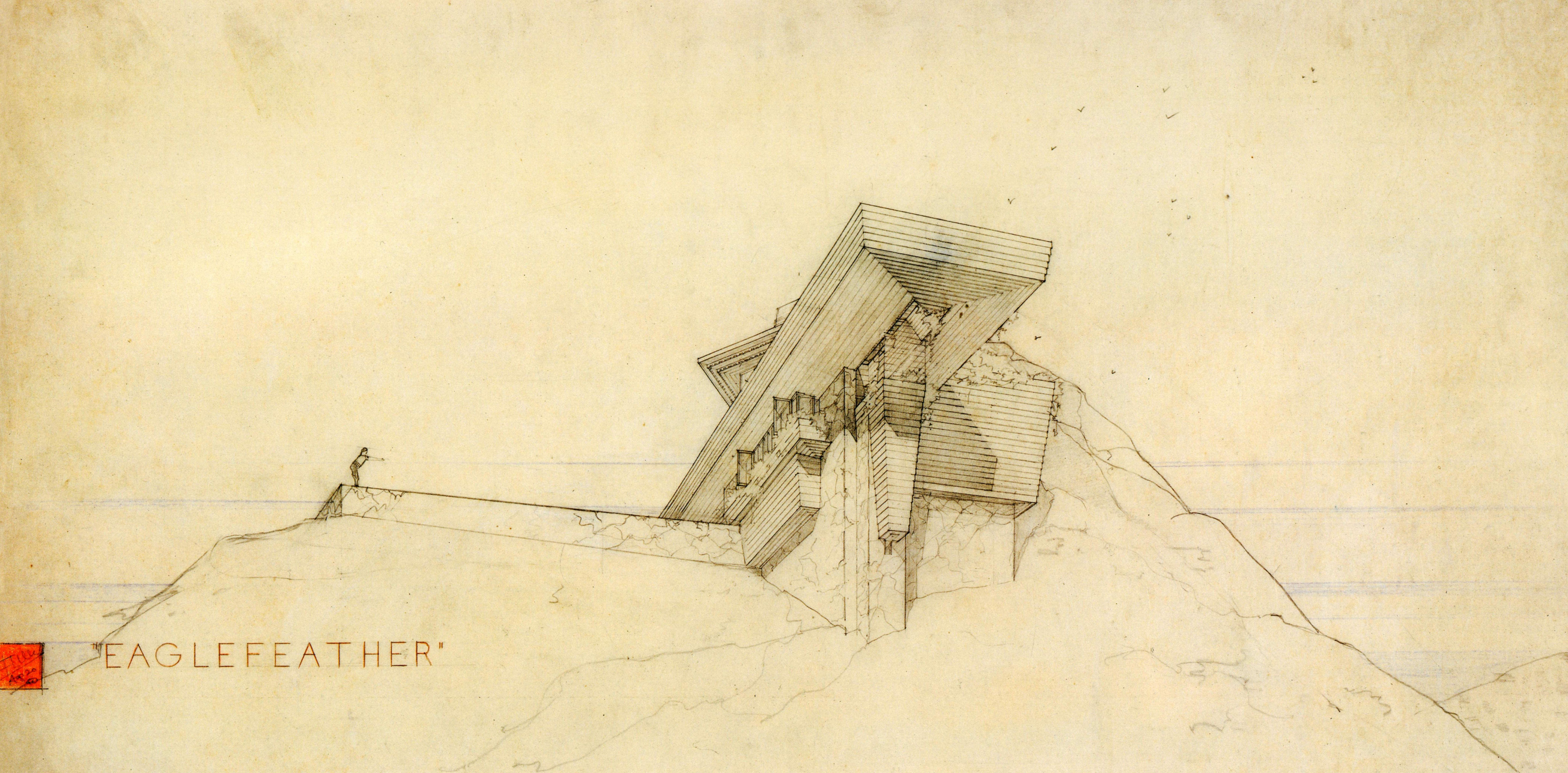 Arch Oboler Frank Lloyd Wright House Architecture Drawing