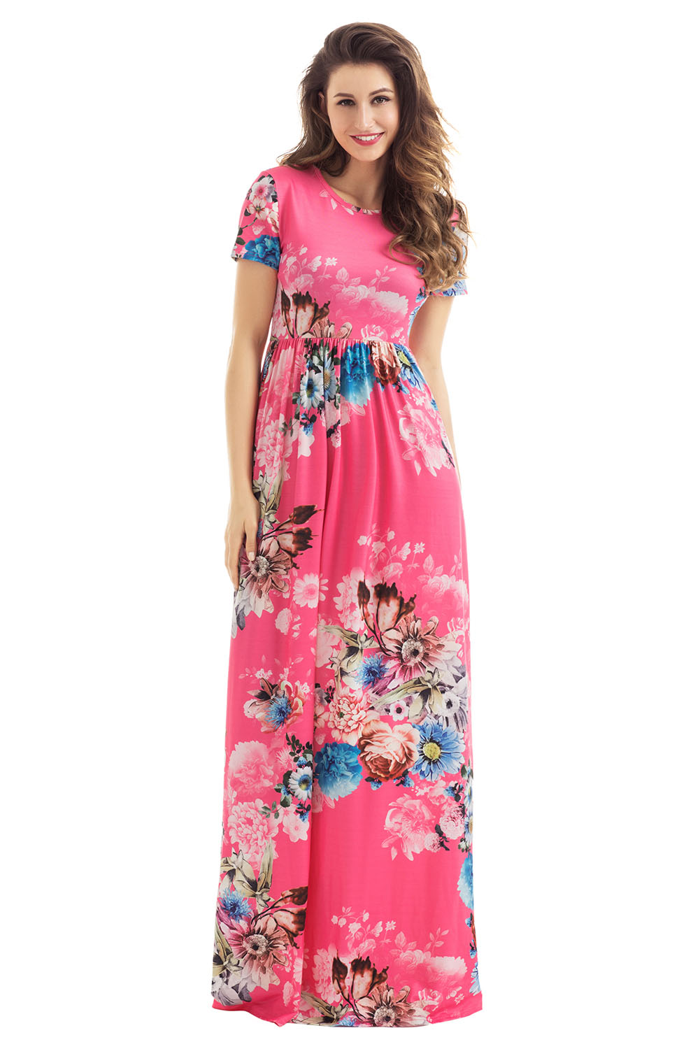 Pocket design short sleeve watermelon red floral maxi dress maxi