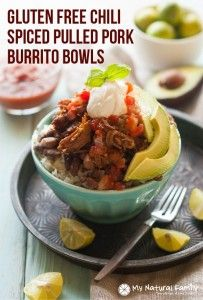 Chili Spiced Pulled Pork Burrito Bowls Crock Pot Recipe {Gluten-Free, Clean Eating, Dairy-Free} | My Natural Family