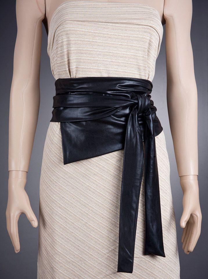 03a4c7050 Leather LOOK Wide BLACK BELT / Fabric Belt, Wide Belt,Long Belt ...