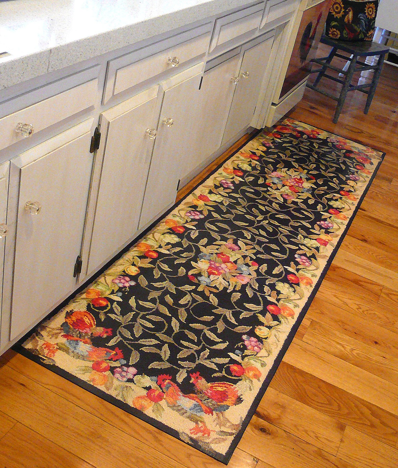 Kitchen Rugs Floral Pattern Design On Hardwood Floor