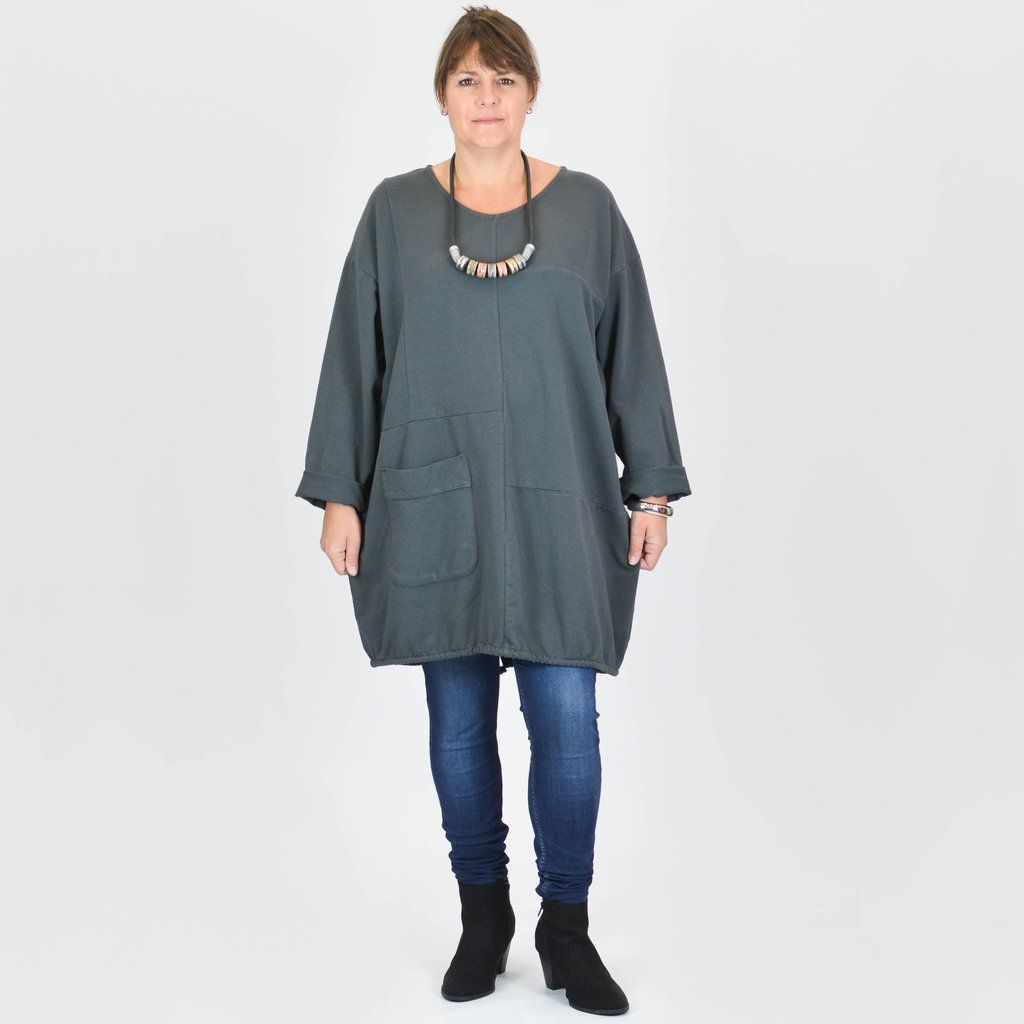 ca57dc5c107 ... Plus Size Lagenlook. REBECCA - Cotton Long Tunic - 9878