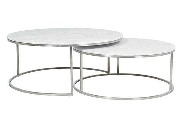 Globewest Elle Round Marble Nest Coffee Tables Coffee Table Nesting Coffee Tables Round Nesting Coffee Tables