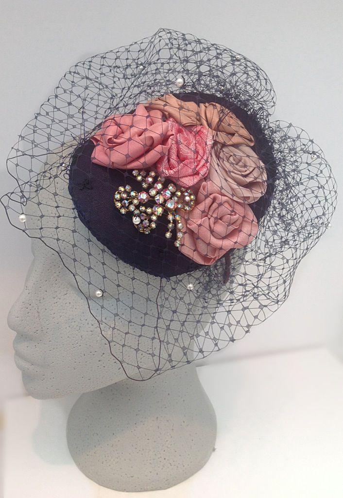 e878fe89cc957 Bespoke fascinator with handmade silk roses