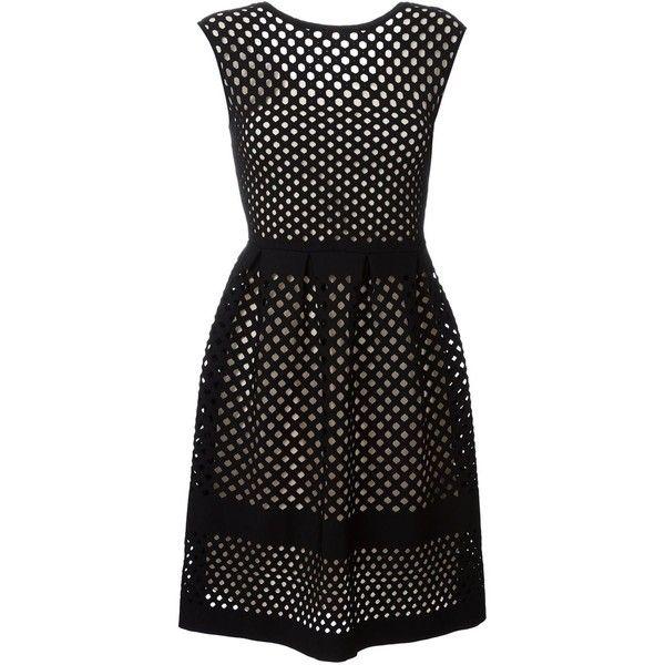 Fendi mesh dress (23.090 NOK) ❤ liked on Polyvore featuring dresses, black, fendi dress, round neck sleeveless dress, mesh dress, circle skirt and skater skirt