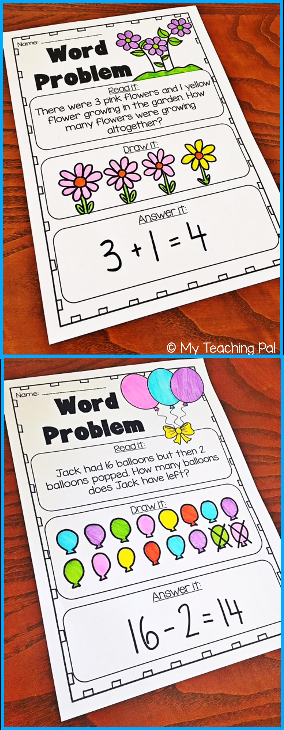 Addition & Subtraction Word Problem Worksheets - Kindergarten and ...