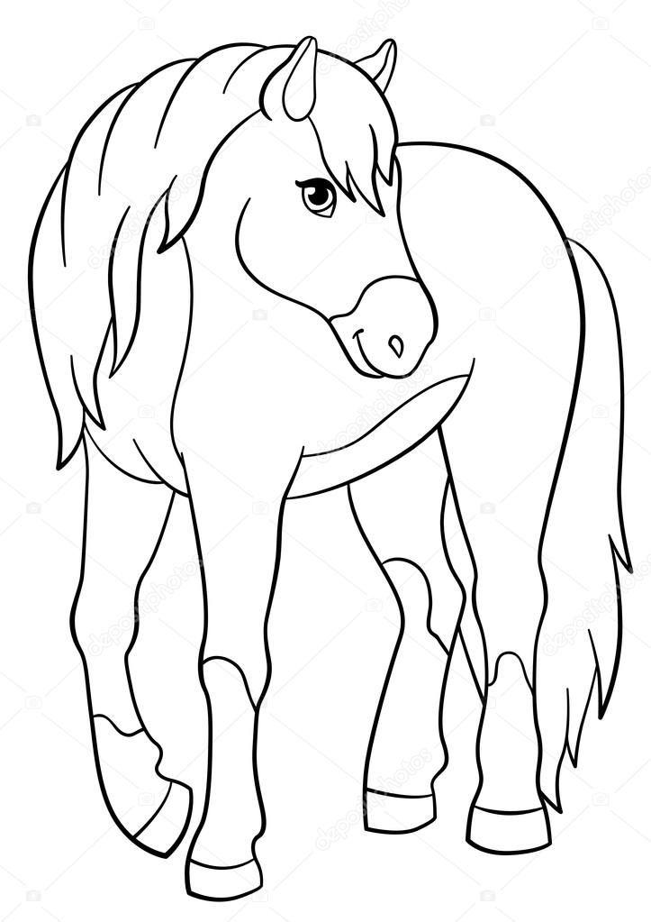 Descargar - Dibujos para colorear. Animales de granja. Lindo caballo ...