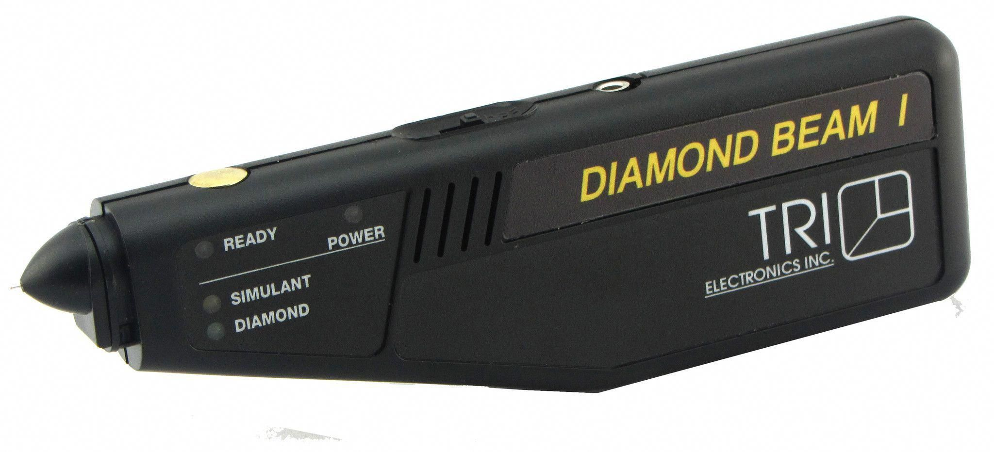 - Diamond Beam I Is a Unique Instrument, Which Separates Real Diamonds from Imitation Ones. - This Instrument Will Identify Such Small Diamonds As From .06 Down To .01 Carats. - Powerful Battery Provides Long Use Before Recharging. - Test Down To 1 Point. - Light Emitting Diodes On Both Sides Make It Easy To Use For Both Right- And Left-Handed People. - Comes With 110-Volt Adapter. - Now This Unit Is Equipped With Replaceable Rechargeable Batteries. - The #lightemittingdiode