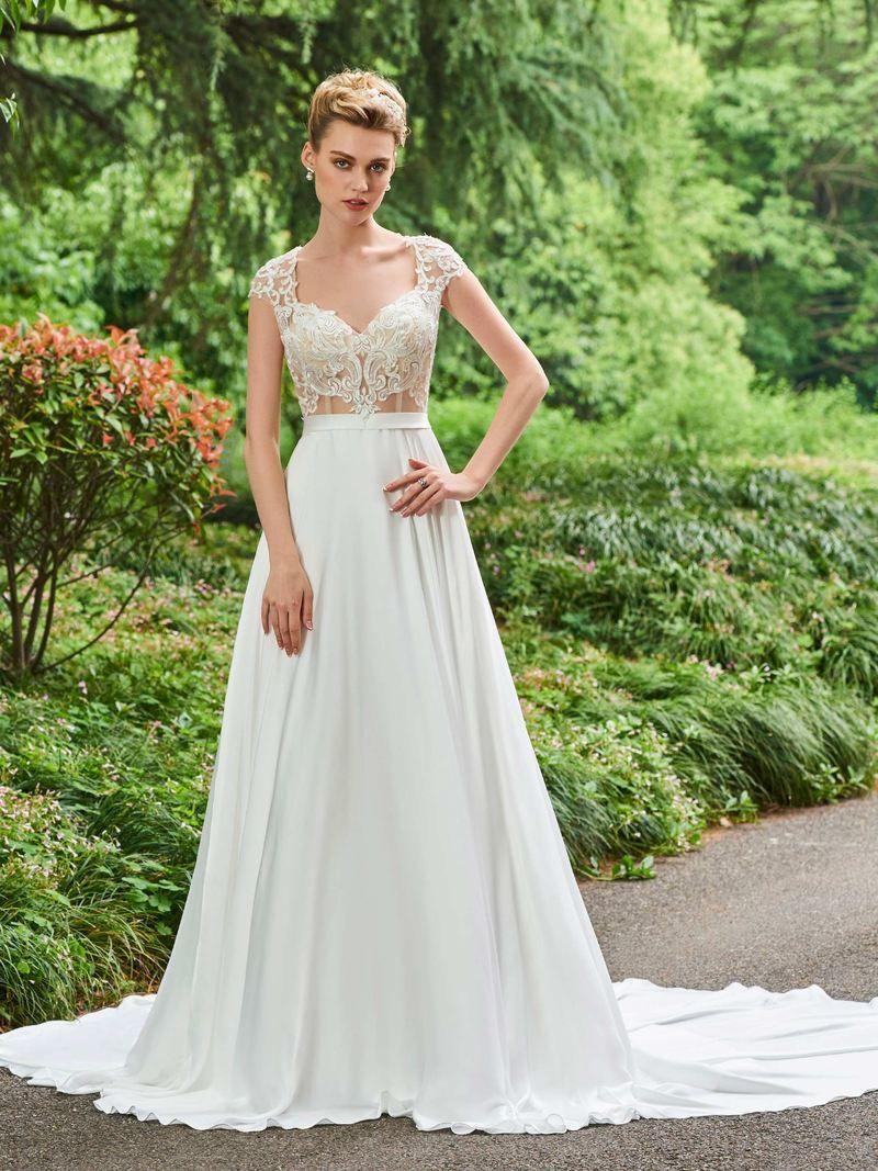 Chapel vneck floorlength lace church wedding dress