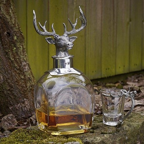 Stag Decanter and Two Shot Glasses Set