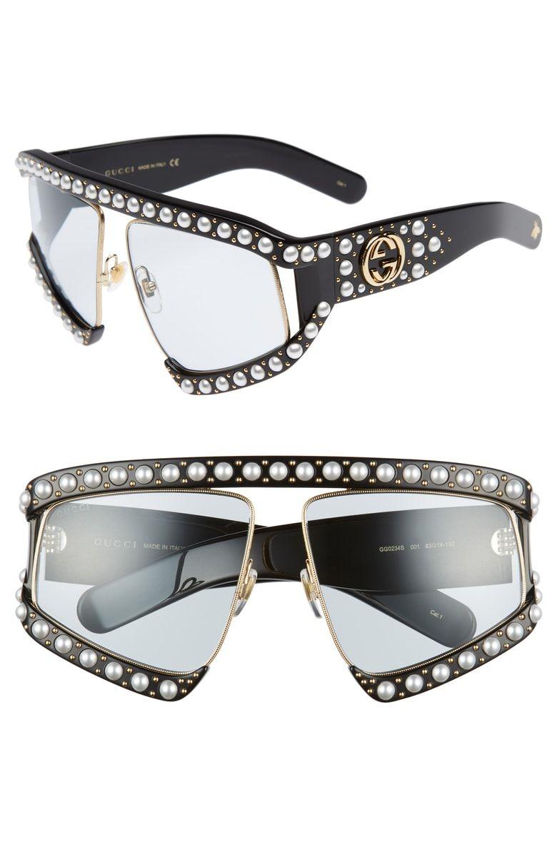 82a65e365b 63mm Embellished Shield Sunglasses