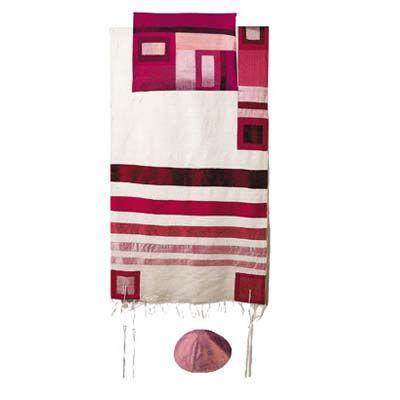 Yair Emanuel Tallit Set – Maroon Stripes on White