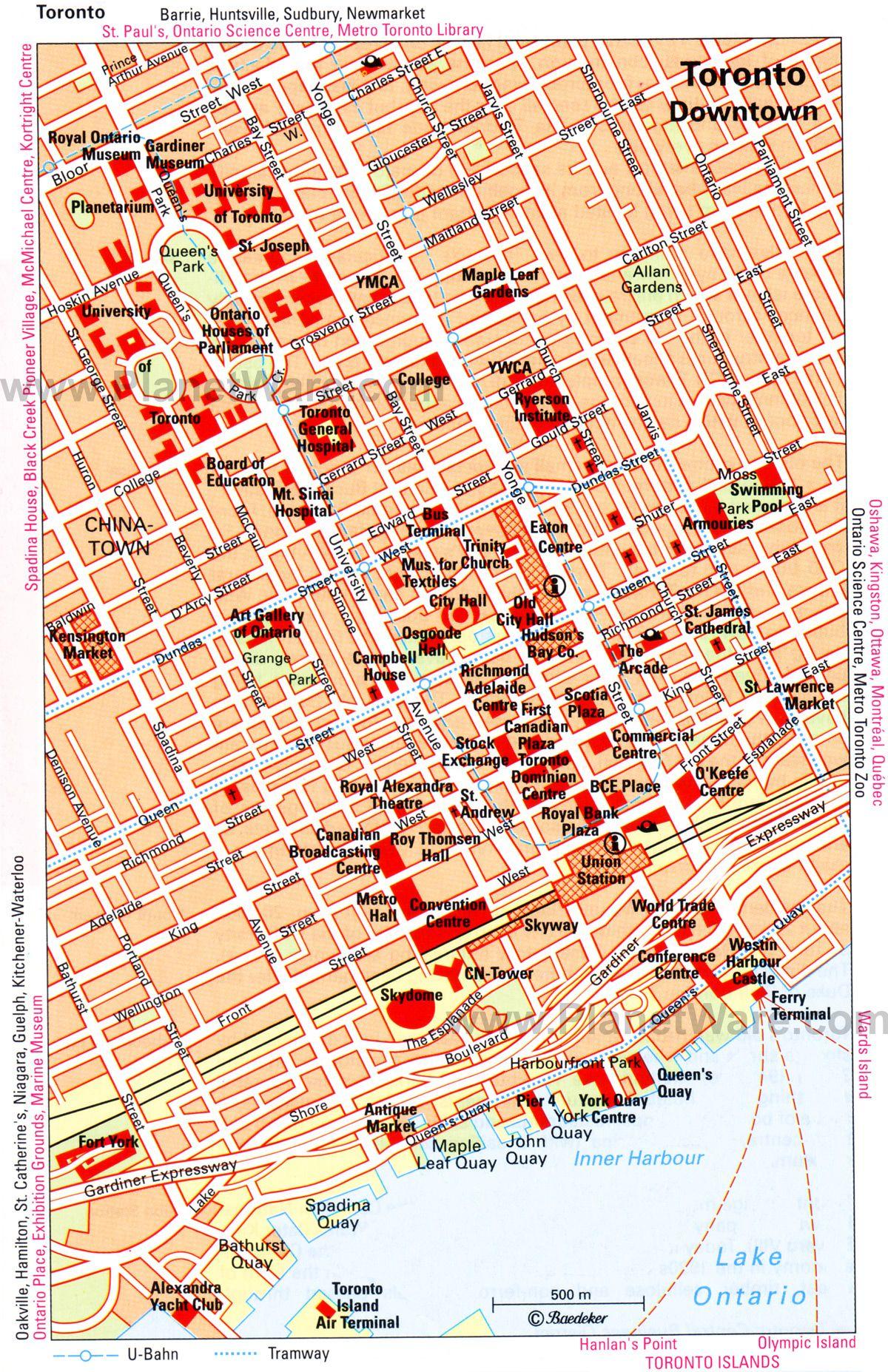 Downtown Toronto Map on