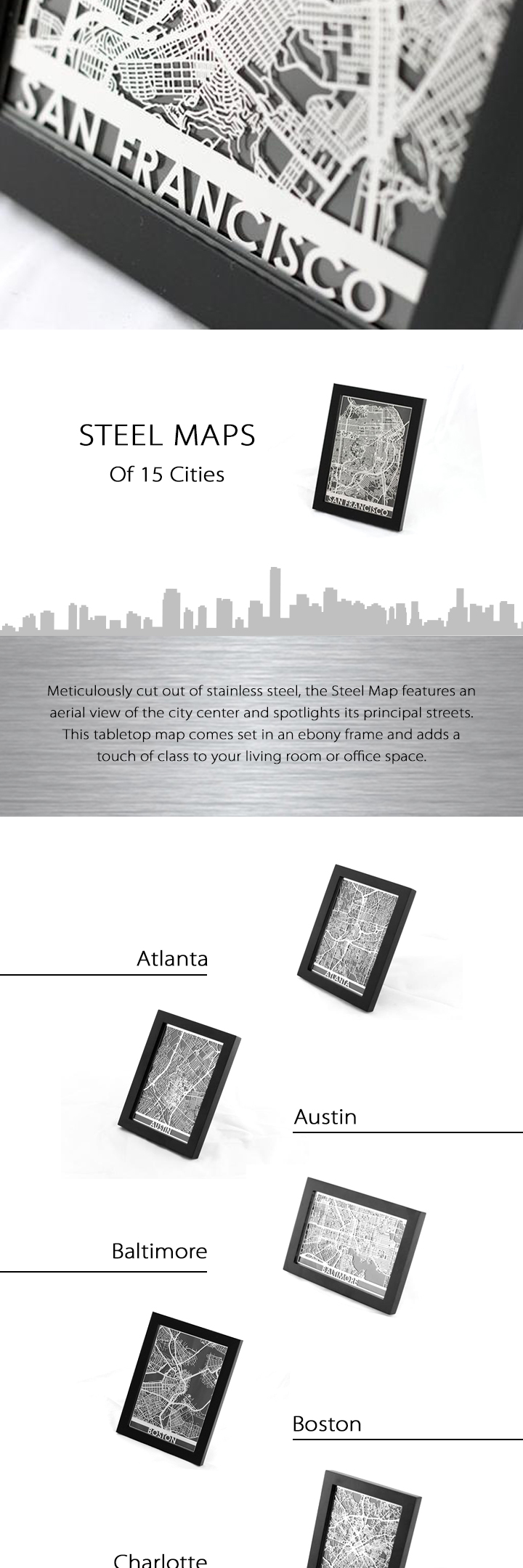 Steel Maps For US Cities Steel Dorm And Box - Steel maps of us cities
