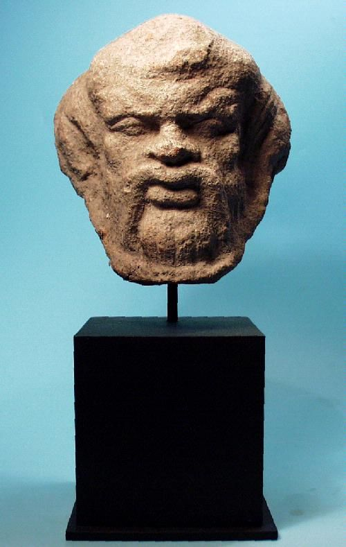 Greek Terracotta Antefix Satyr A Large Ancient Greek Terracotta Antefix In The Form Of The Head Of A Satyr With A Furrowed B Greece Art Greek Artifacts Satyr