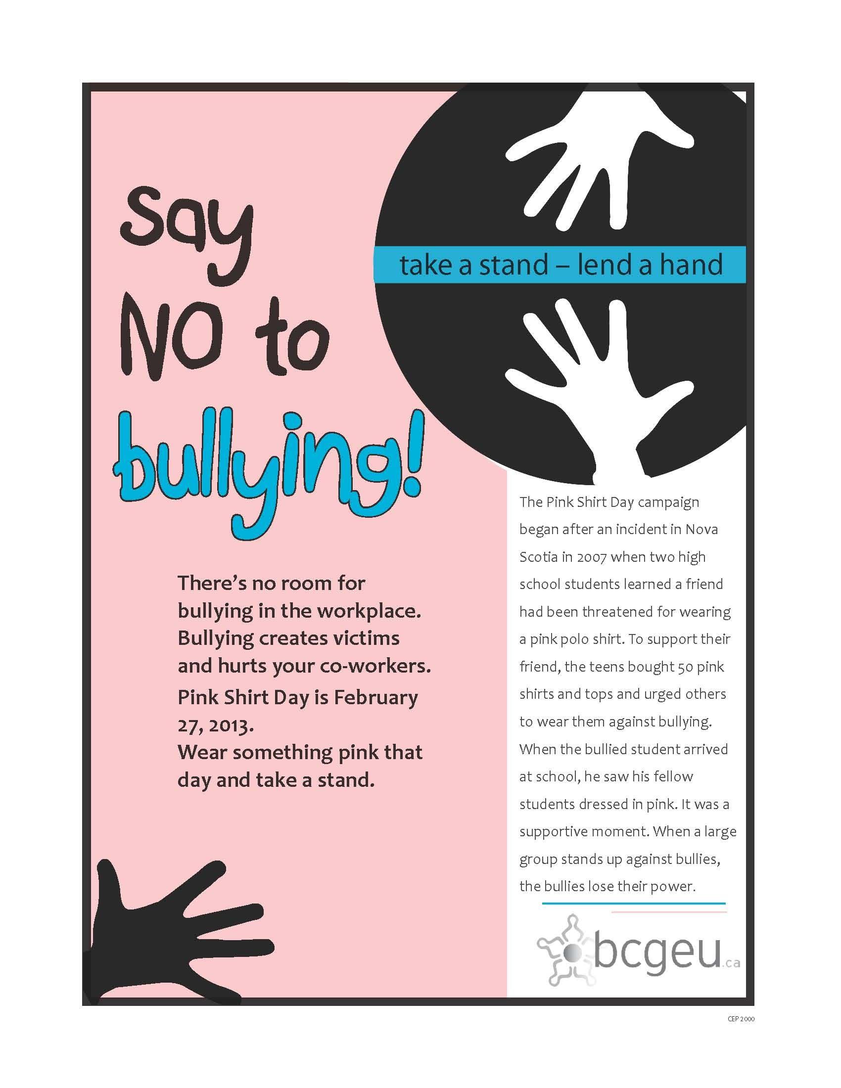Antibullying bcgeu poster workplace bullying safe