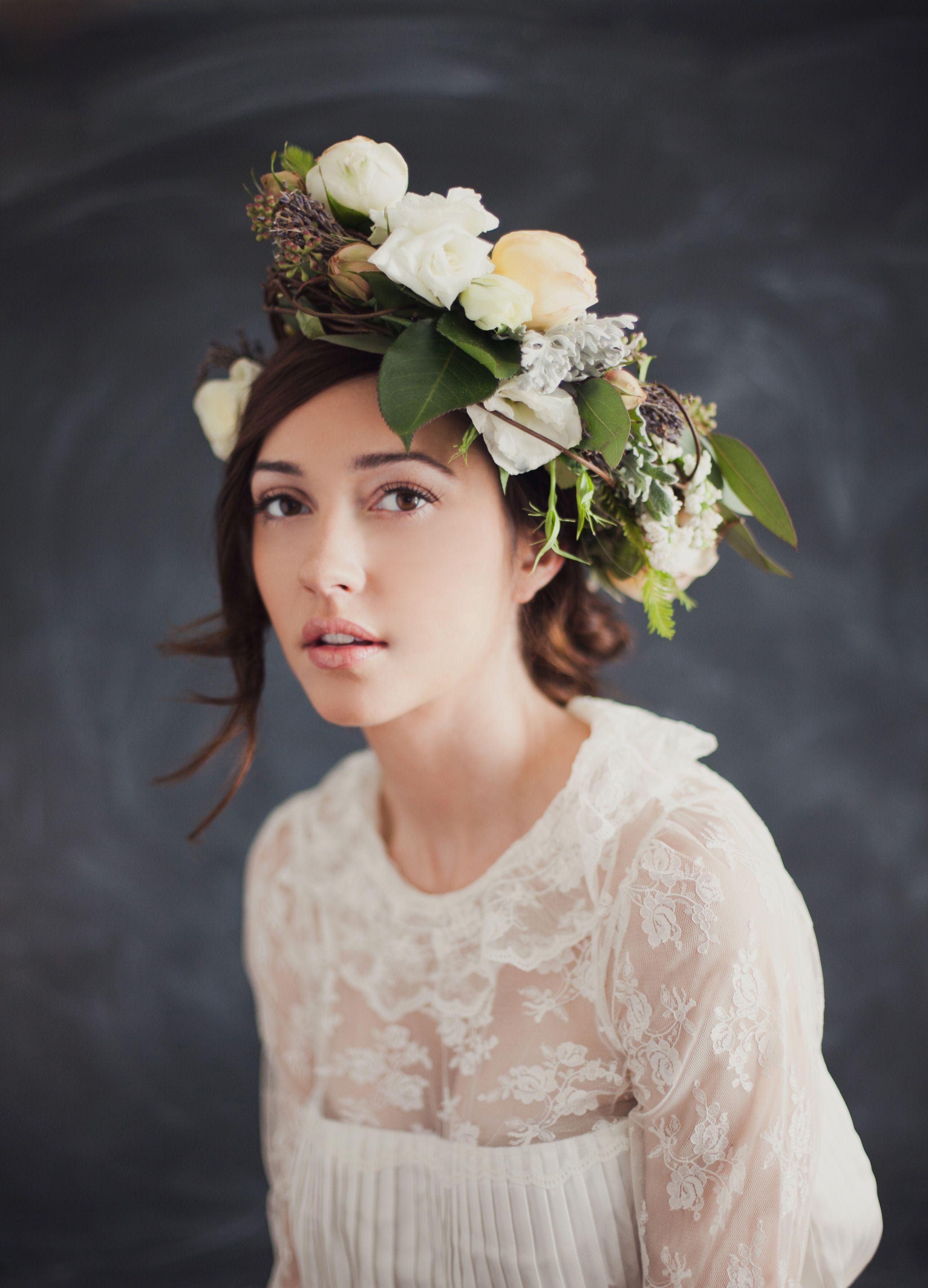 Floral piece the consevatorie model megan henderson hairmu brides romantic white and blush flower crown photo by ben sasso photography izmirmasajfo