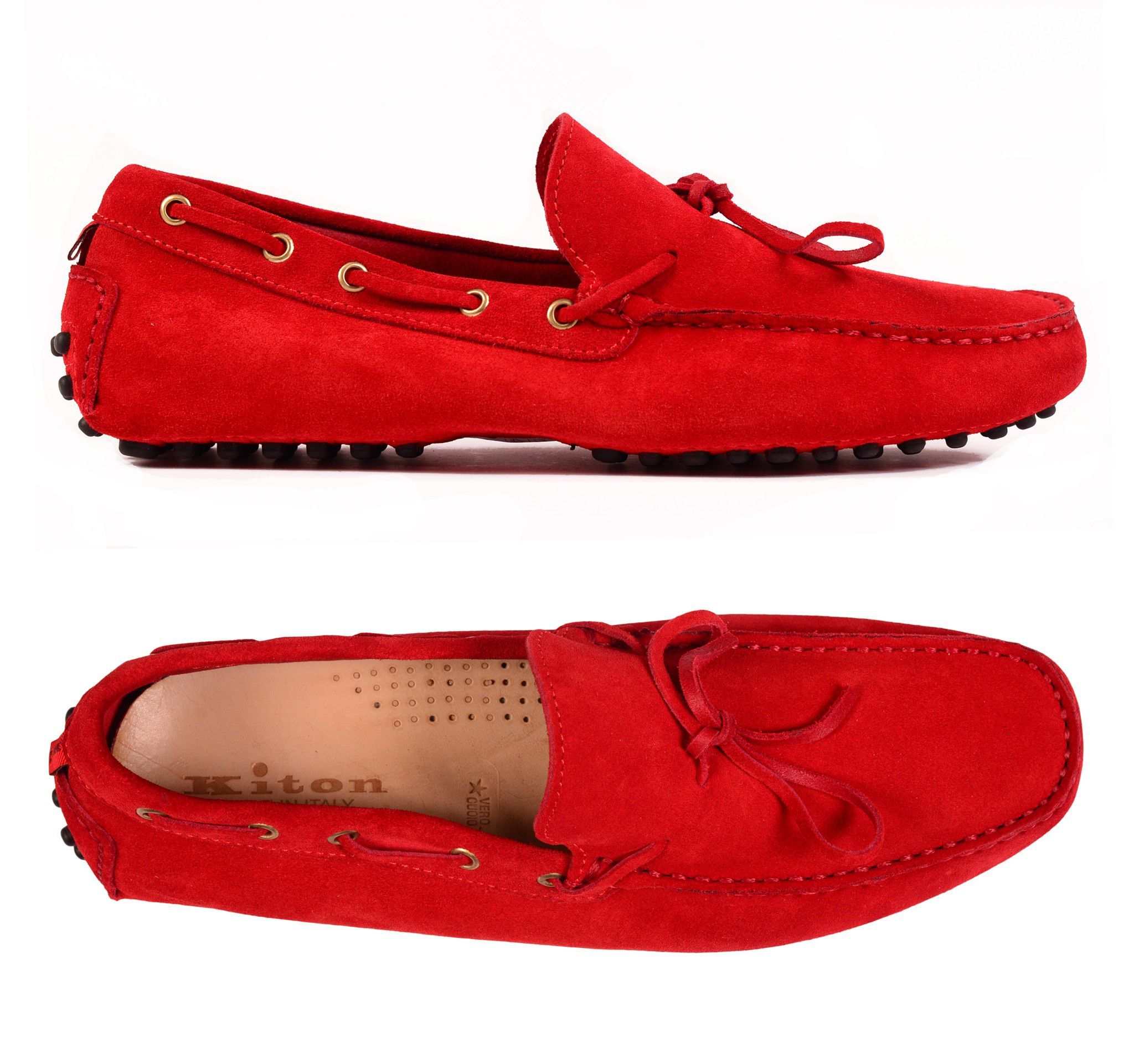 KITON NAPOLI Ferrari Red Suede Loafers Driving Car Shoes Moccasins 9 NEW US  10