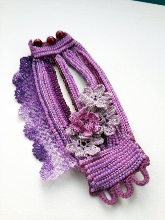 Crochet Beaded Bracelet Cuff. Crochet Jewelry. Freeform Crochet Cuff ...