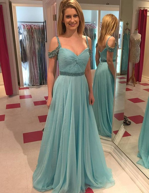 ecf9868c8c2 Modern Spaghetti Straps Beading A-line Light Blue Prom Dress