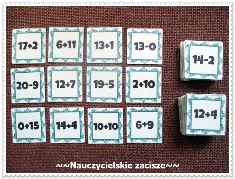 Matematyczna Wojna 130 Kart Z Dodawaniem I Odejmowaniem W Zakresie 20 Math War Game For Kids Cards Chcesz Kupic Zamowienia Na Allegro Zaciszekg Lub Ma List