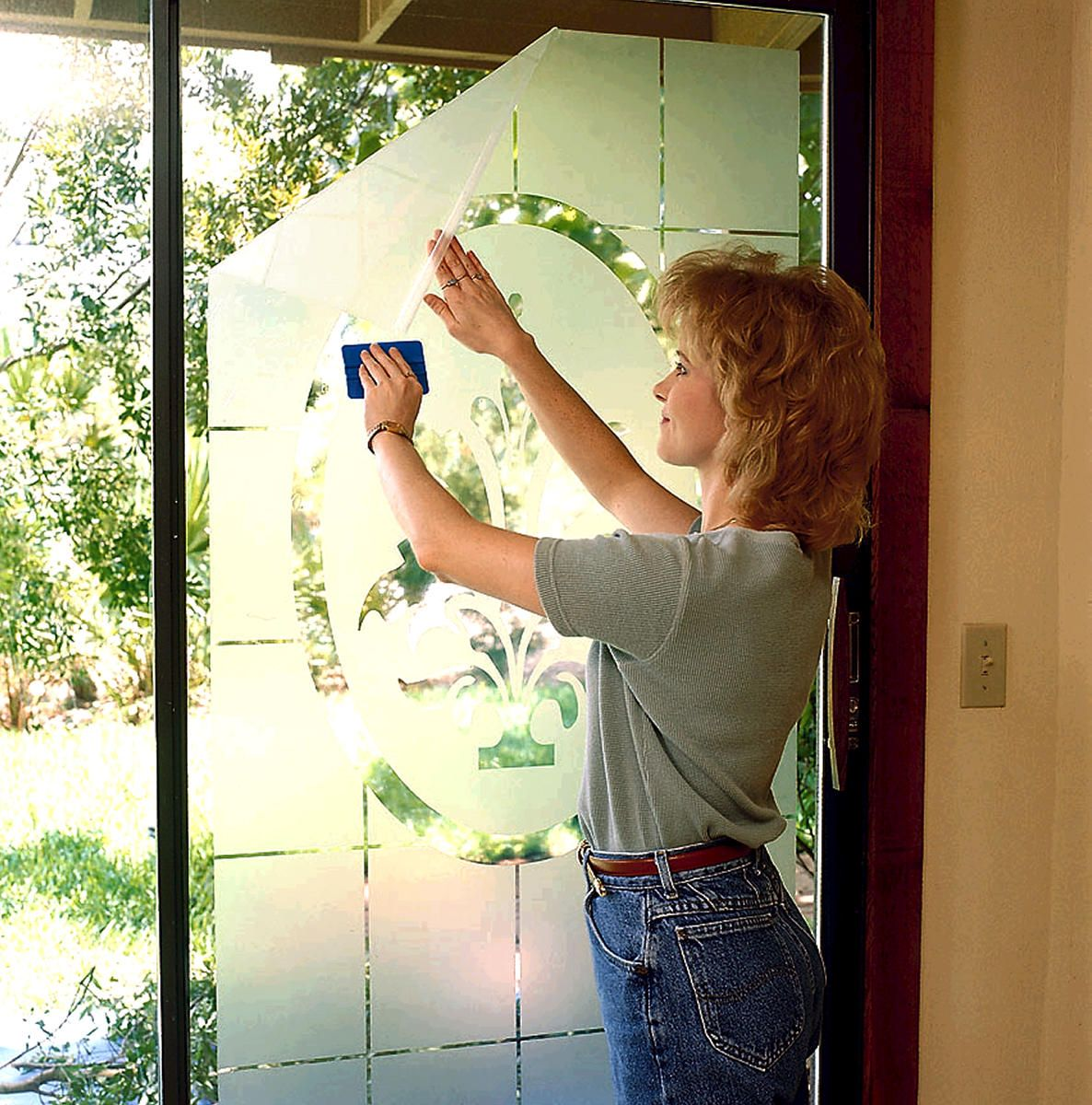 """Outwater's Glass Film enables anyone to easily create or """"overlay"""" an entirely new permanent or temporary appearance for any existing glass installation as well as for many other smooth, shiny non-porous surfaces such as on panels, partitions, display cases, signage, mirrors, windows, doors, displays and exhibits."""