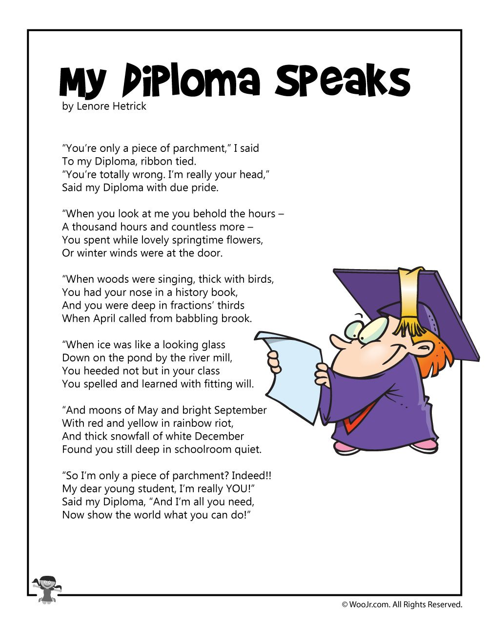 Printable Graduation Poems For All Ages Woo Jr Kids Activities Graduation Poems Poems Pre K Graduation