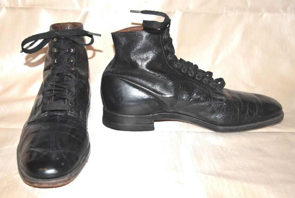 351bb659c29 Antique Edwardian Men's Vintage 1910's Black Leather Lace Up Boots ...