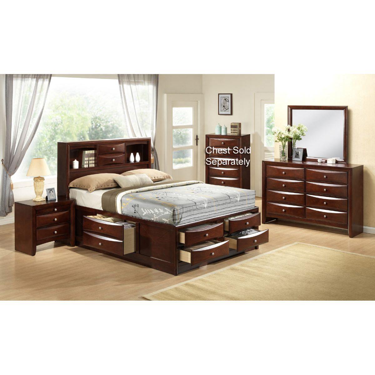Tobacco Brown Contemporary 7 Piece Queen Bedroom Set