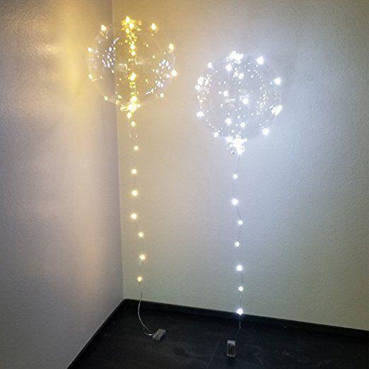 Koyal Wholesale Bobo Luminous LED Clear Balloon, 6-Pack LED Balloon