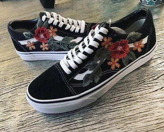 Custom Vans Shoes Black Old Skool or Sk8-HI with Rose