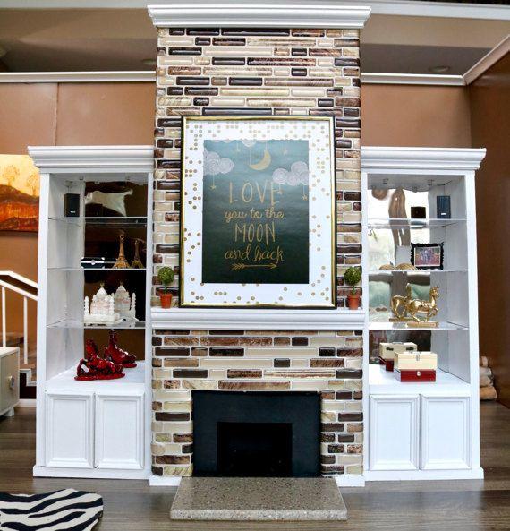 Dollhouse Miniatures Jensen: 1/6 Scale Tile Fireplace Unit Furniture Set For Dollhouse