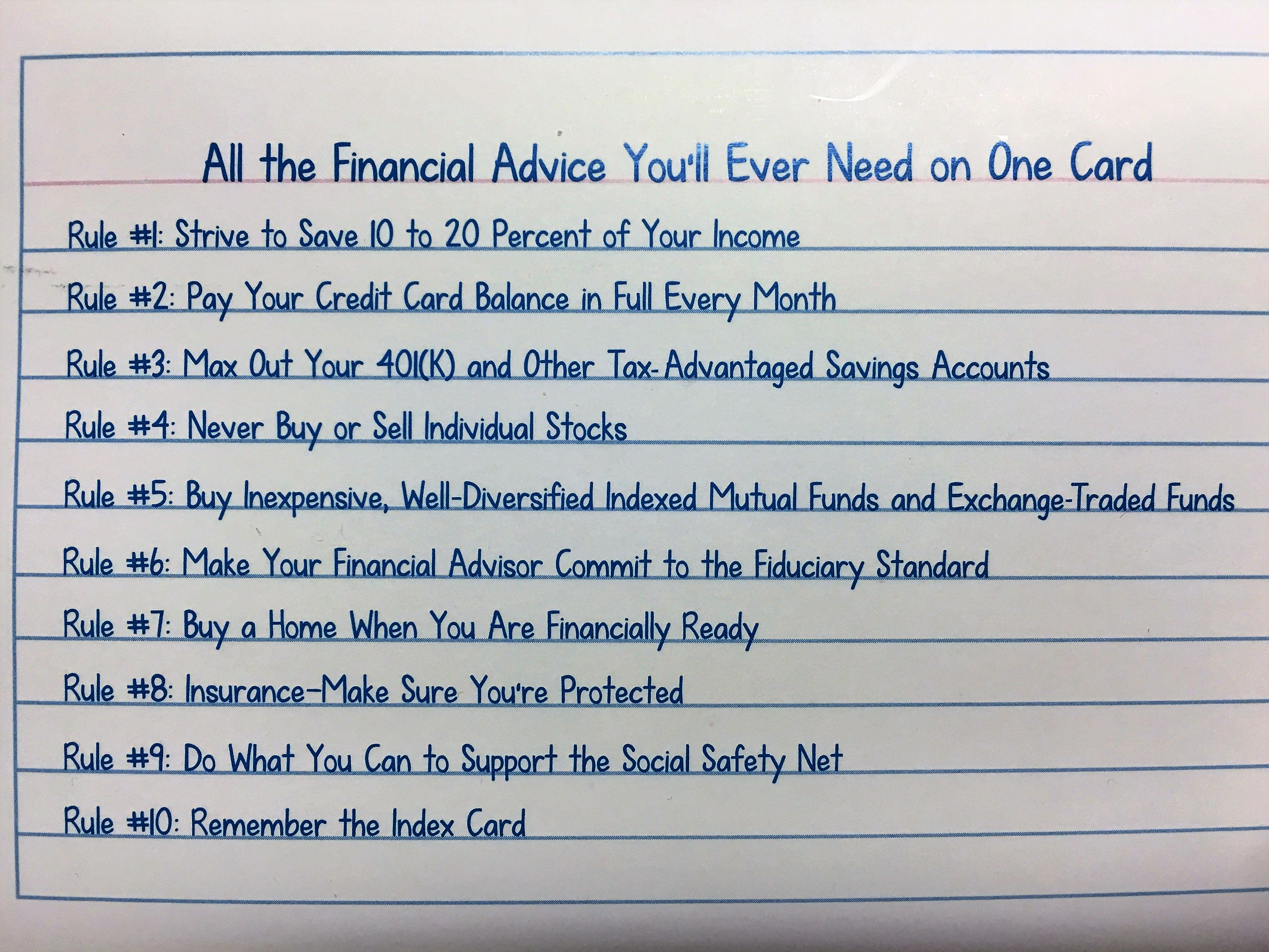 Index card investment advice largest financial investment companies