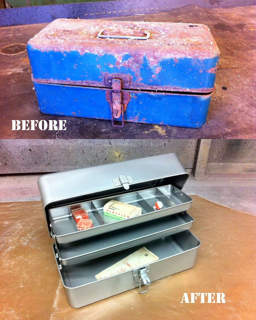 Picture of Restore a rusty old tackle box with sand blasting & powder coating