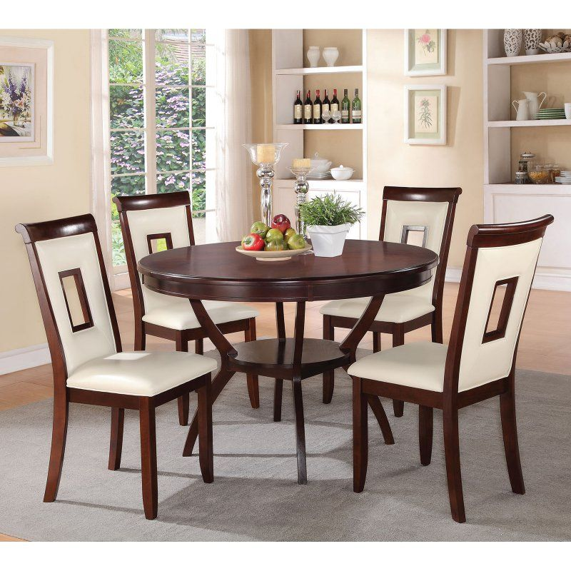 Acme Furniture Oswell 5 Piece Round Dining Table Set White  71604 Extraordinary Acme Dining Room Set Design Ideas