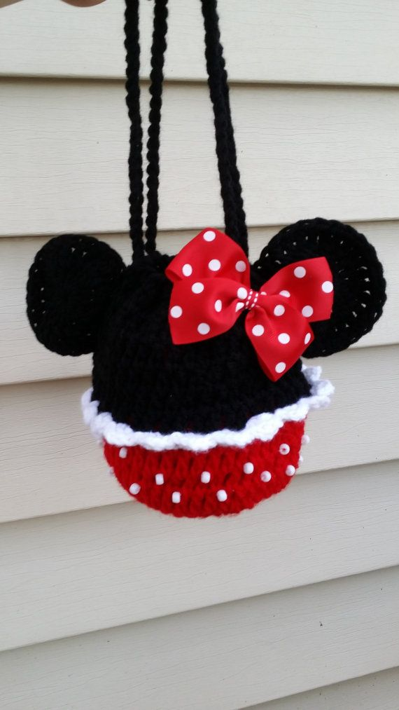 Minnie mouse polka dot crochet girl purse handbag and hair bow ...