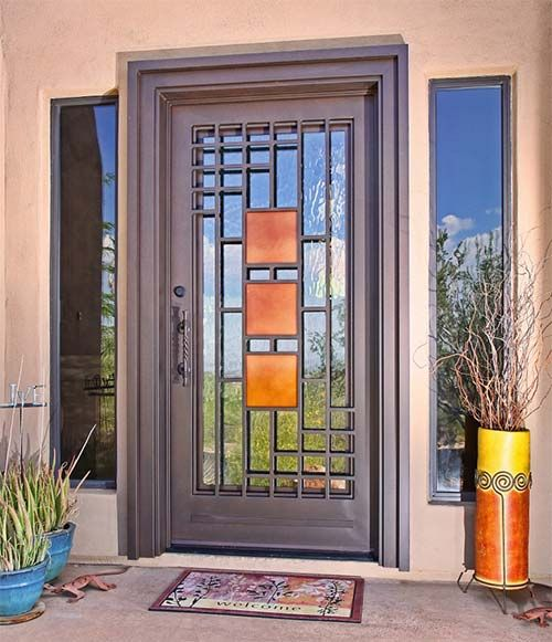 Resultado de imagen para puertas de madera modernas con for Puertas de herreria para casa