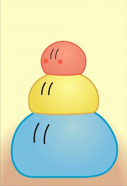 Dango Daikazoku Blue Yellow Red Pile Cute Clannad Clannad